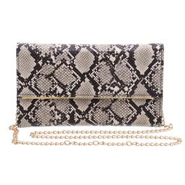 Nicci Snake Print Clutch with Chain Strap