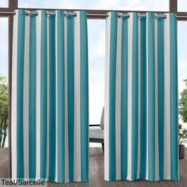 Exclusive Home Canopy Stripe Indoor Outdoor Curtain Panel 2pc. - 84in.
