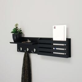 nexxt Sydney - Coat Rack Wall Shelf With Mail Sorter - Black