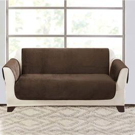 surefit Elegant Pick Stitch Smokey Brown Loveseat Furniture Cover