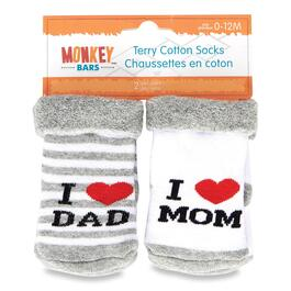 MONKEY BARS Infant Girls or Boys Mom and Dad Socks - 0-12M