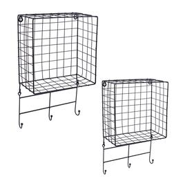 Truu Design Black Grid Floating Wall Shelves 2pc. - 6.2in.