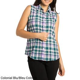 Classic Editions Women's Plaid Sleeveless Blouse - S-XXL