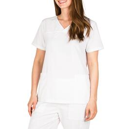 Options Women's White Basic Scrub Top - S-XL