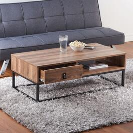 HomeStyles Dark Natural Coffee Table with Faux Leather Pull Drawer