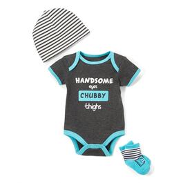 Baby Mode Signature Boys Handsome Eyes Chubby Thighs Set 3pc. - 0-9M