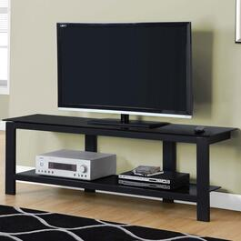 Monarch Specialties Black Tempered Glass TV Stand