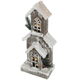 IH Casadécor Snow-Covered Rustic LED Wooden Narrow Church - 16in.