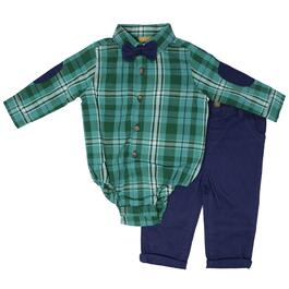 Little Gent Infant Green Plaid Bow-Tie Collared Bodysuit and Navy Pants 2pc. Set - 3-24M