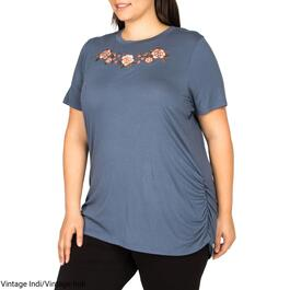 mySTYLE Women's Plus Embroidered Tee - 1X-3X