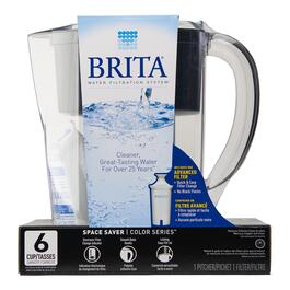 Brita Space Saver Water Filter Pitcher - Black