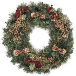 Henryka Wreath with Red Ornaments and Bows - 30in.
