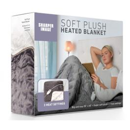 Sharper Image Grey Heated Plush Throw Blanket