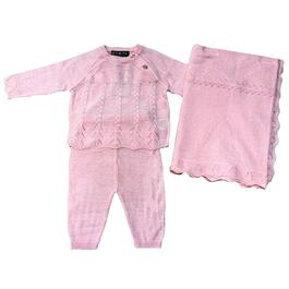 Rock a Bye Baby Boutique Girls Pink Knitted Set 3pc. - 0-9M