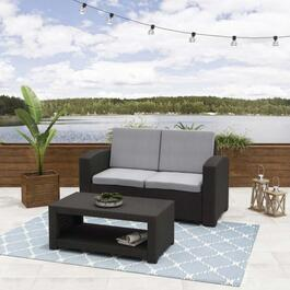 CorLiving All-Weather Black Loveseat Patio Set with Light Grey Cushions - 2pc.