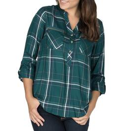 mySTYLE Women's Plaid Popover with Zip Pockets - S-XL