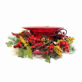 Henryka Decorative Glass Bowl with Stand - Red