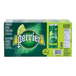 Perrier Lime Spring Water Slim Can 10pk. - 250ml