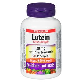Webber Naturals Lutein with Zeaxanthin 20 mg - 45 Softgels