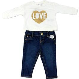 Lily and Jack Girls Love Cream Shirt and Jean Set 2pc. - 3-18M