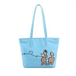 Luxanne Poodle Print Tote - Blue