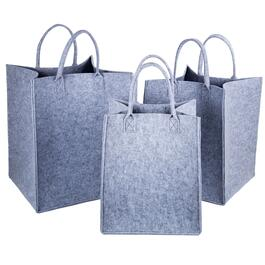 Truu Design Light Grey Felt Storage Tote Baskets - 3pc.
