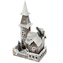 IH Casadécor Snow-Covered Rustic LED Wooden Church with Fence - 16in.