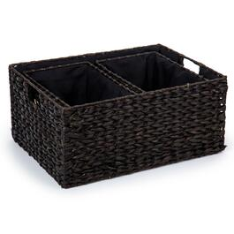 Truu Design Black Rectangular Braided Grass Storage Baskets - 3pc.