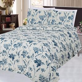 Bamboo Living Blue Inkwash Floral Pattern Double Sheet Set - 6pc.