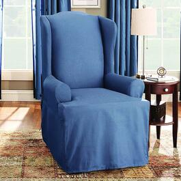 surefit¬ô Solid Cotton Slipcover for Wing Chair in Blue Stone