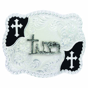 Thumbnail of the CHRISTIAN COWBOY FLOURISH SCALLOPED BELT BUCKLE